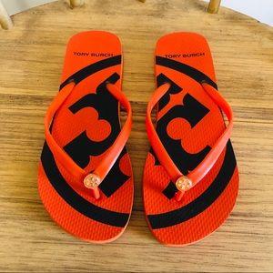 NWOT! Tory Burch Orange Emory Flip Flops Size 8